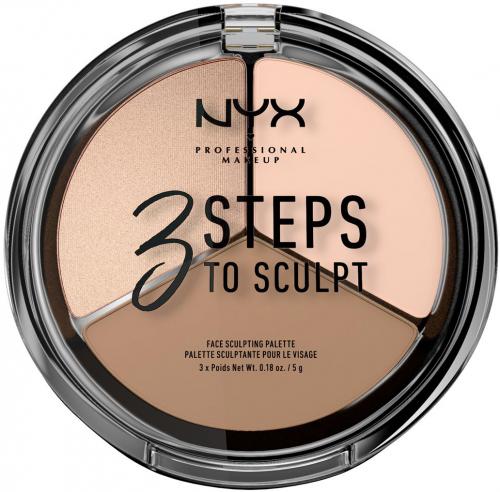 NYX Professional Makeup - 3 STEPS T SCULPT - FACE SCULPTING PALETTE - Zestaw do konturowania twarzy