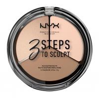 NYX Professional Makeup - 3 STEPS T SCULPT - FACE SCULPTING PALETTE - Zestaw do konturowania twarzy - FAIR - FAIR