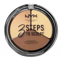 NYX Professional Makeup - 3 STEPS T SCULPT - FACE SCULPTING PALETTE - Zestaw do konturowania twarzy - LIGHT - LIGHT