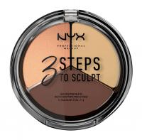 NYX Professional Makeup - 3 STEPS T SCULPT - FACE SCULPTING PALETTE - Zestaw do konturowania twarzy - MEDIUM - MEDIUM