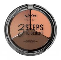 NYX Professional Makeup - 3 STEPS T SCULPT - FACE SCULPTING PALETTE - Zestaw do konturowania twarzy - DEEP - DEEP