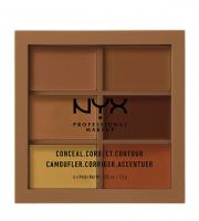 NYX Professional Makeup - CONCEAL, CORRECT CONTOUR PALETTE - Paleta korektorów do twarzy - 03 - DEEP - 03 - DEEP