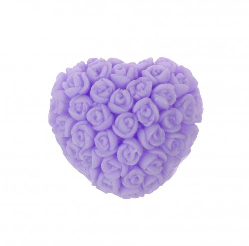 LaQ - Happy Soaps - Naturalne mydełko glicerynowe - FIOLETOWE SERCE W RÓŻYCZKI
