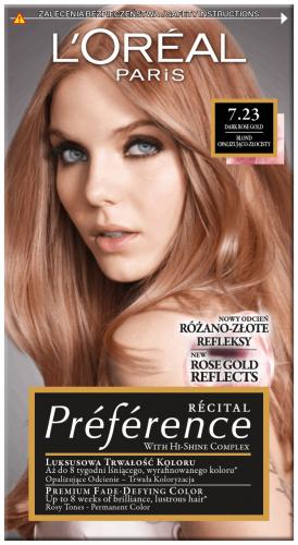 L'Oréal - Récital Préférence - 7.23 - DARK ROSE GOLD - Farba do włosów - Trwała koloryzacja - Ciemny, różowy blond