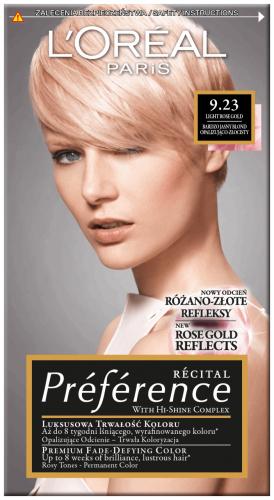 L'Oréal - Récital Préférence - 9.23 - LIGHT ROSE BLOND - Farba do włosów - Trwała koloryzacja - Jasny, różowy blond