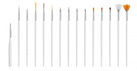 Set of 15 Brushes for Nail Art - White