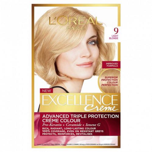 L'Oréal - EXCELLENCE Pure Blonde - 9 Ultra Light Blonde - Kremowa koloryzacja o zaawansowanej, potrójnej ochronie - BARDZO JASNY BLOND