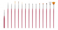 Set of 15 brushes for Nail Art - Pink