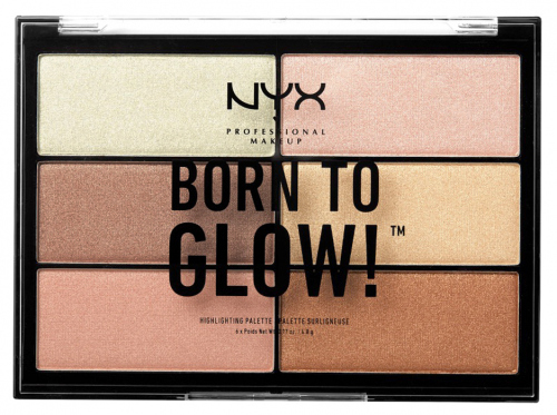 NYX Professional Makeup - BORN TO GLOW! - HIGHLIGHTING PALETTE - Zestaw 6 rozświetlaczy
