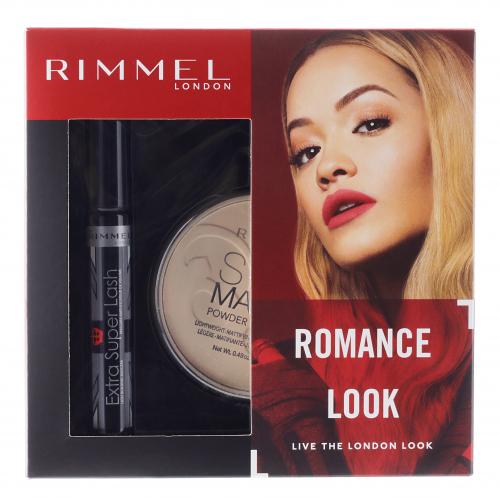 RIMMEL - ROMANTIC LOOK - EXTRA SUPER LASH MASCARA + STAY MATTE POWDER - Zestaw prezentowy kosmetyków do makijażu