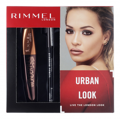 RIMMEL - URBAN LOOK - WONDER`FULL MASCARA + PROFESSIONAL EYEBROW PENCIL - Zestaw prezentowy kosmetyków do makijażu oka i brwi