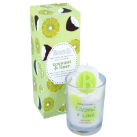 Bomb Cosmetics - Piped Candle with Pure Essential Oils - Coconut & Lime - Scented candle with foam - COCONUT & LIME