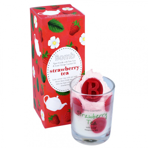 Bomb Cosmetics - Piped Candle with Pure Essential Oils - Strawberry Tea