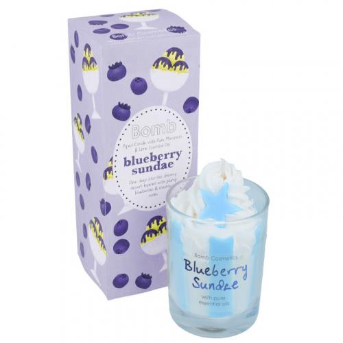 Bomb Cosmetics - Piped Candle with Pure Essential Oils - Blueberry Sundae - Świeca zapachowa z pianką - BLUEBERRY SUNDAE