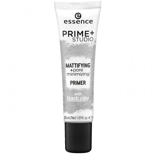 Essence - PRIME+ STUDIO - Mattifying + Pore minimalizing Primer - Baza minimalizująca pory z dodatkiem czarnej glinki