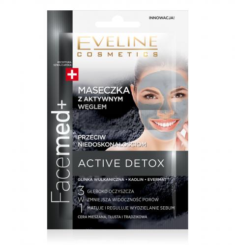 EVELINE - Facemed+ - ACTIVE DETOX - Maseczka z aktywnym węglem