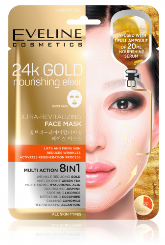 EVELINE - 24k GOLD Nourishing Elixir Ultra-Revitalizing Face Mask - Rewitalizująca koreańska maska w płacie