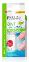 Eveline Cosmetics - NAIL THERAPY PROFFESSIONAL 8in1 Total Action Sensitive - Skoncentrowana odżywka do wrażliwych paznokci z kwarcem