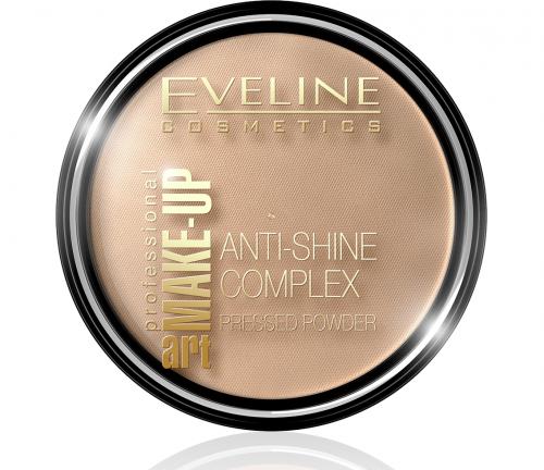 EVELINE - Art Make-Up - Anti-Shine Complex Pressed Powder - Puder mineralny z jedwabiem