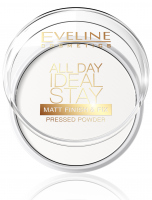 EVELINE - All Day Ideal Stay Pressed Powder - Matująco-utrwalający puder do twarzy - 60 WHITE