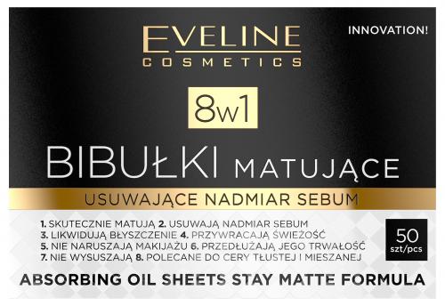 EVELINE - Absorbing Oil Sheets Stay Matte Formula 8in1 - Bibułki matujące 8w1 - 50 sztuk