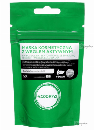 Ecocera - Activated charcoal mask based on silver and colloidal copper - 50 g