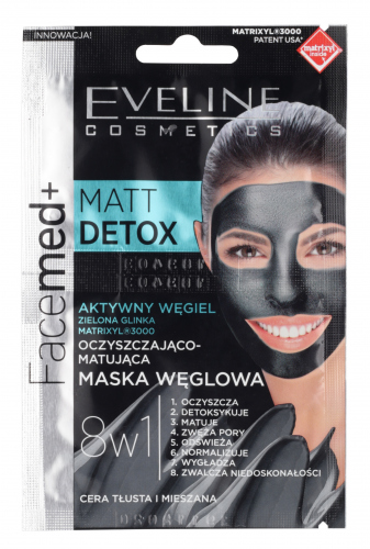 EVELINE - Facemed+ MATT DETOX - Oczyszczająco-matująca maseczka węglowa