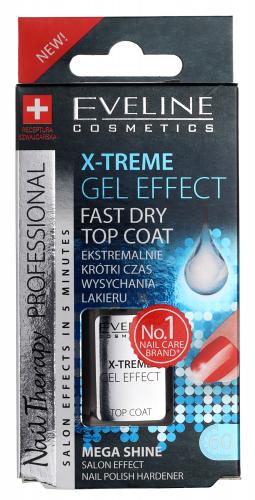 EVELINE - NAIL THERAPY PROFFESSIONAL X-TREME GEL EFFECT Fast Dry Top Coat - Preparat do przedłużania trwałości lakieru