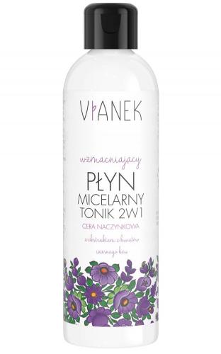 VIANEK - Wzmacniający płyn micelarny-tonik 2w1 z ekstraktem z kwiatów czarnego bzu do cery naczynkowej - 200 ml