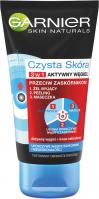 GARNIER - CZYSTA SKÓRA 3W1 - Aktywny Węgiel - Żel myjący + Peeling + Maseczka