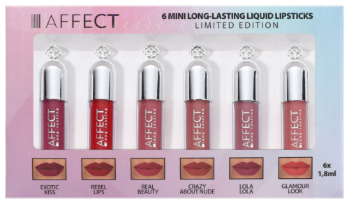 AFFECT - 6 MINI LONG-LASTING LIQUID LIPSTICK - Zestaw mini pomadek w płynie - LIMITED EDITION