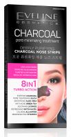EVELINE - CHARCOAL PORE MINIMISING TREATMENT - Oczyszczające plastry na nos z dodatkiem aktywnego węgla - 2 szt