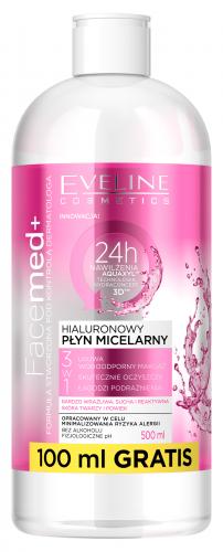 EVELINE - FaceMed + Hialuronowy płyn micelarny 3w1 do skóry suchej i wrażliwej