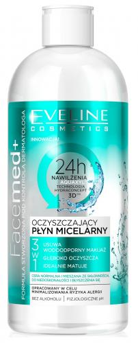 EVELINE - FaceMed + Oczyszczający płyn micelarny 3w1 do cery normalnej, mieszanej i przetłuszczającej się