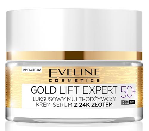 EVELINE - GOLD LIFT EXPERT - Luksusowy multi-odżywczy krem-serum z 24k złotem - 50+