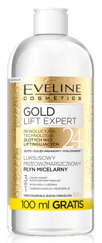 EVELINE - GOLD LIFT EXPERT - 24 K - Luksusowy przeciwzmarszczkowy płyn micelarny dla cery dojrzałej, suchej i wrażliwej