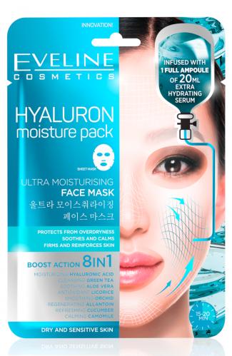 EVELINE - HYALURON Moisture Pack Sheet Mask - Ultranawilżająca koreańska maska w płacie