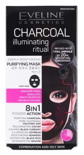 EVELINE - CHARCOAL ILLUMINATING RITUAL - Głęboko oczyszczająca koreańska maska na tkaninie