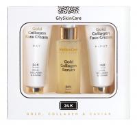 GlySkinCare - 24K GOLD, COLLAGEN & CAVIAR - Face Care Gift Set- Night cream 50 ml + Serum with gold 50 ml + Day cream 50 ml