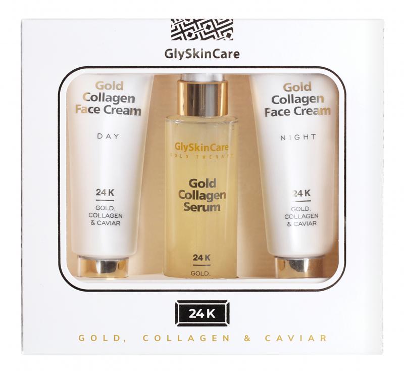 Glyskincare 24k Gold Collagen Caviar Face Care Gift Set Night Cream 50 Ml Serum