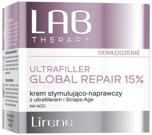 Lirene - LAB THERAPY - ULTRAFILLER GLOBAL REPAIR 15% - Krem stymulująco-naprawczy na noc