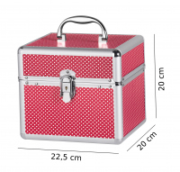 Mały czerwony kufer kosmetyczny w białe kropki - RED - BB475