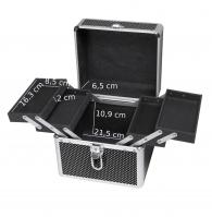 Mały czarny kufer kosmetyczny w białe kropki - BLACK - BB475