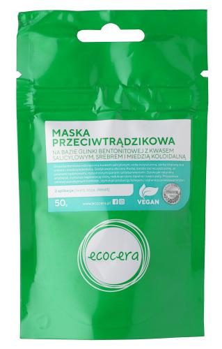 Ecocera - Maska przeciwtrądzikowa na bazie glinki bentonitowej z kwasem salicylowym, srebrem i miedzią koloidalną - 50 g