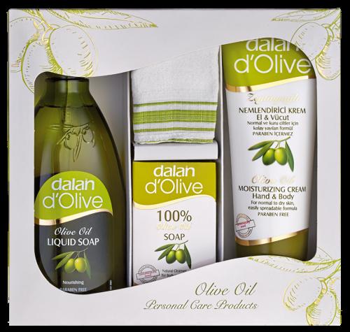 Dalan d`Olive - OLIVE OIL - Zestaw prezentowy kosmetyków pielęgnacyjnych -  Nawilżające mydło oliwkowe w płynie 400 ml + 100% mydło oliwkowe w kostce + Oliwkowy, nawilżający krem do ciała i rąk 75 ml
