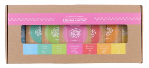 BodyBoom - 7 cudów BB - Zestaw 7 kawowych peelingów do ciała - Opakowanie prezentowe