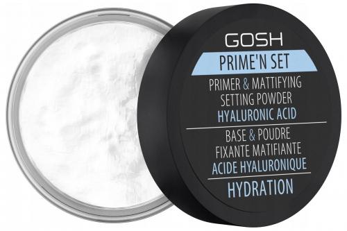 GOSH - Prime'n set PRIMER & MATTIFYING SETTING POWDER - Fiksująco-matujący puder/baza z dodatkiem kwasu hialuronowego 3w1