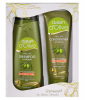 Dalan d`Olive - OLIVE OIL - REPAIRING CARE - Gift set for rebuilding hair cosmetics - Hair shampoo 400 ml + Hair conditioner 200 ml
