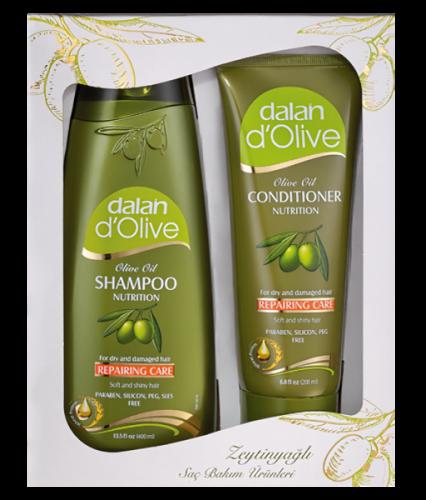 Dalan d`Olive - OLIVE OIL - REPAIRING CARE - Zestaw prezentowy odbudowujących kosmetyków do włosów - Szampon do włosów 400 ml + Odżywka do włosów 200 ml