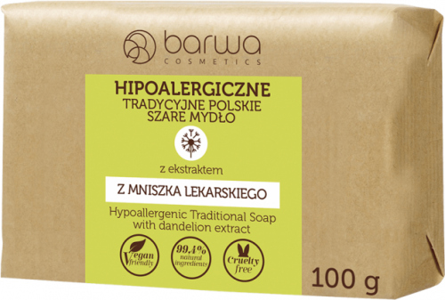 Barwa Hypoallergenic Traditional Polish Gray Bar Soap With Dandelion Extract 100g
